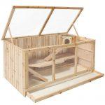 TecTake Grande Cage en bois pour petits rongeurs, 3 étages, env. 115x60x56,5cm